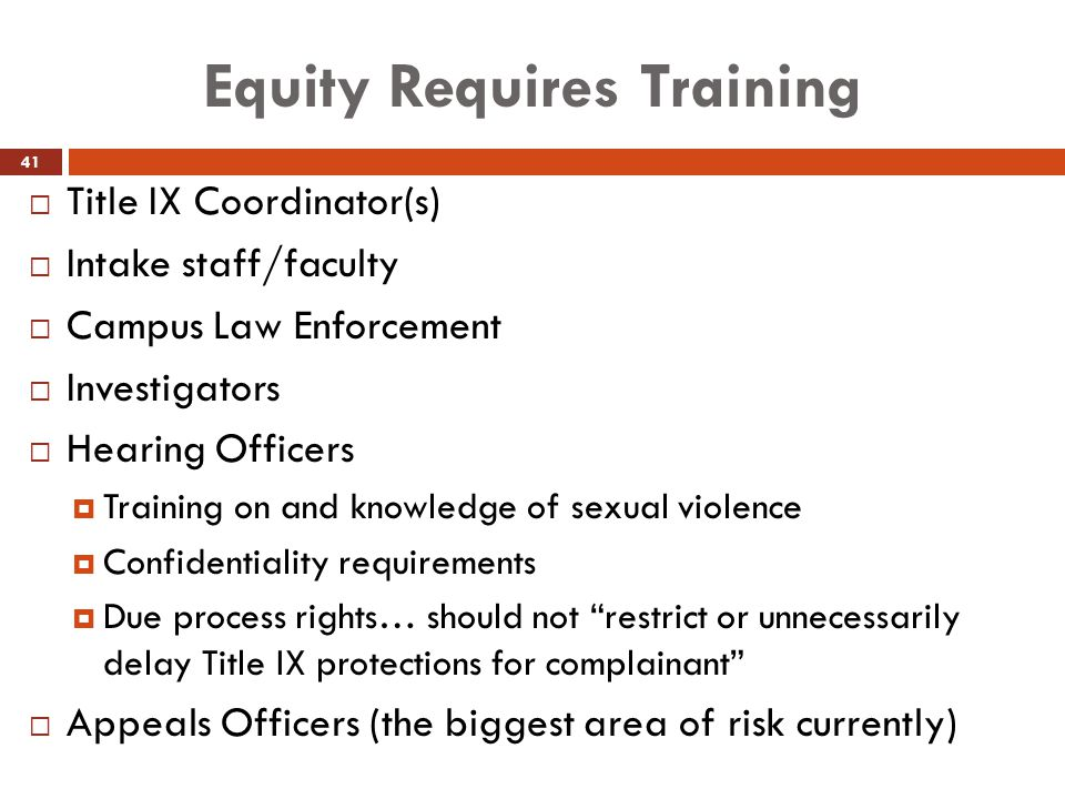 Equity Requires Training