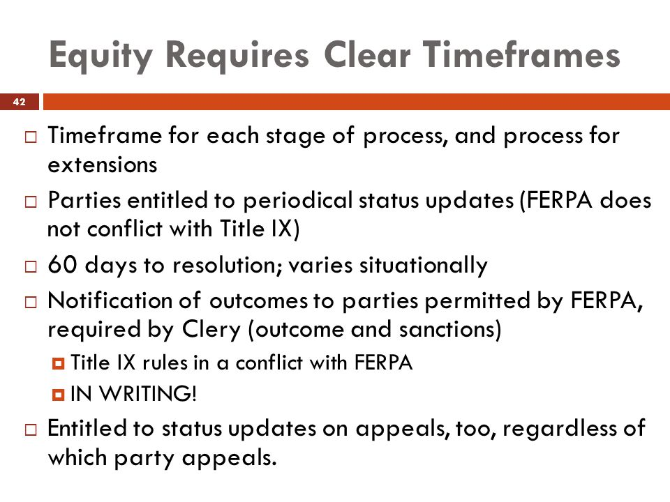 Equity Requires Clear Timeframes