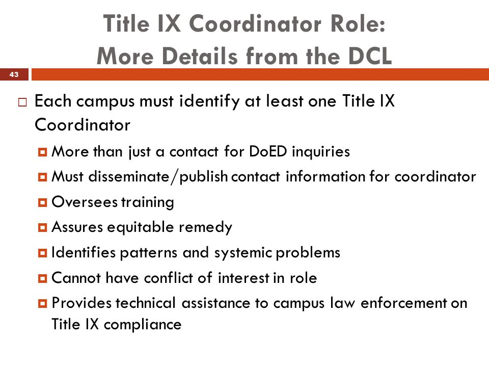 Title IX Coordinator Role: More Details from the DCL