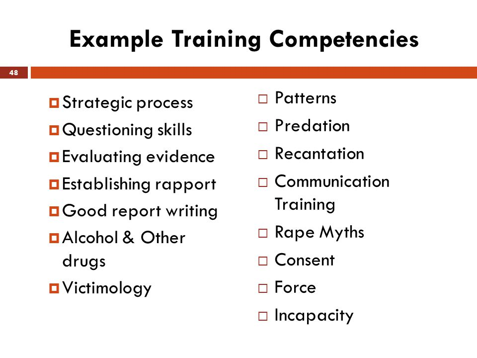 Example Training Competencies