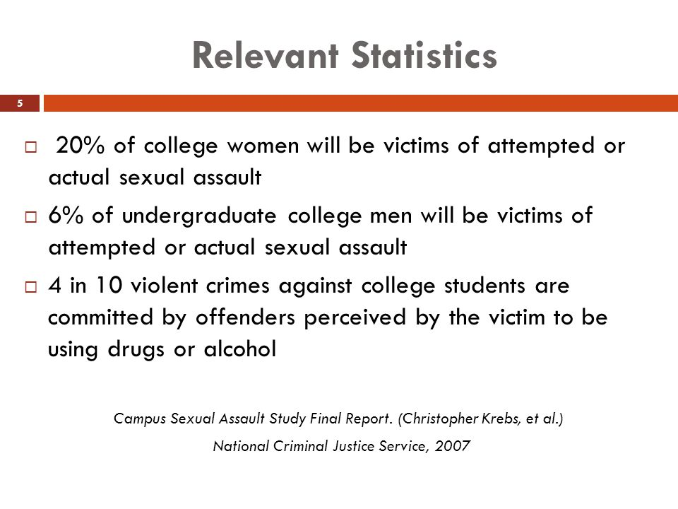 Relevant Statistics 20% of college women will be victims of attempted or actual sexual assault.