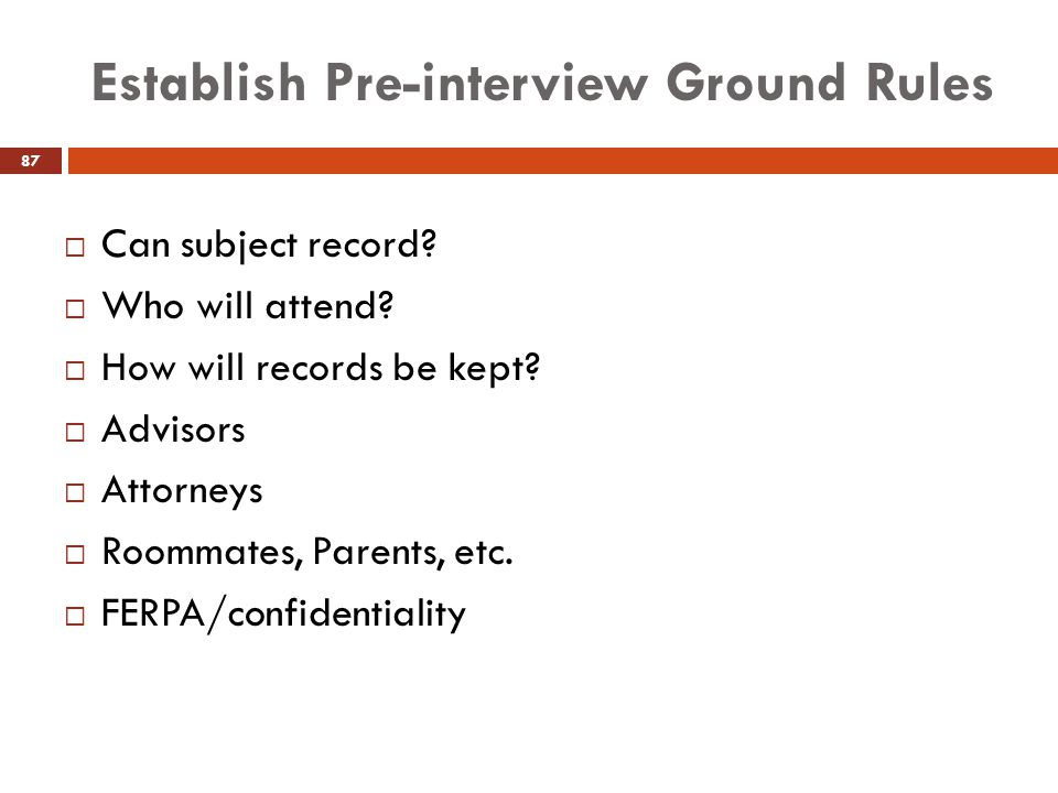 Establish Pre-interview Ground Rules