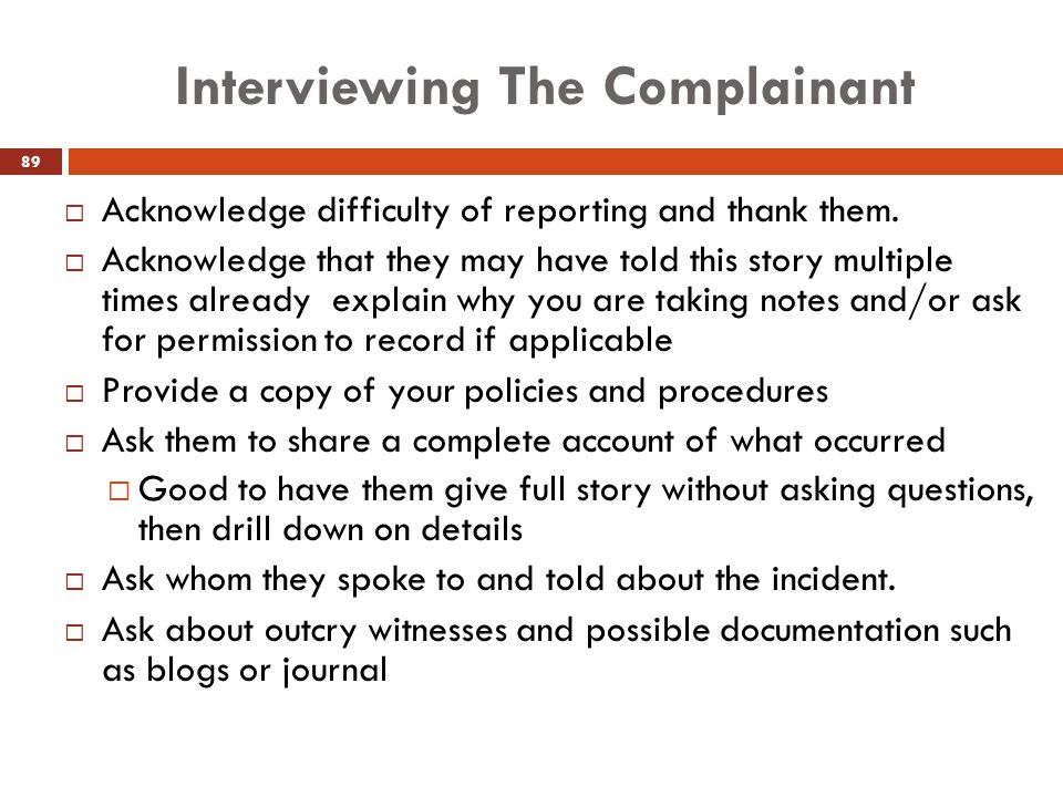 Interviewing The Complainant