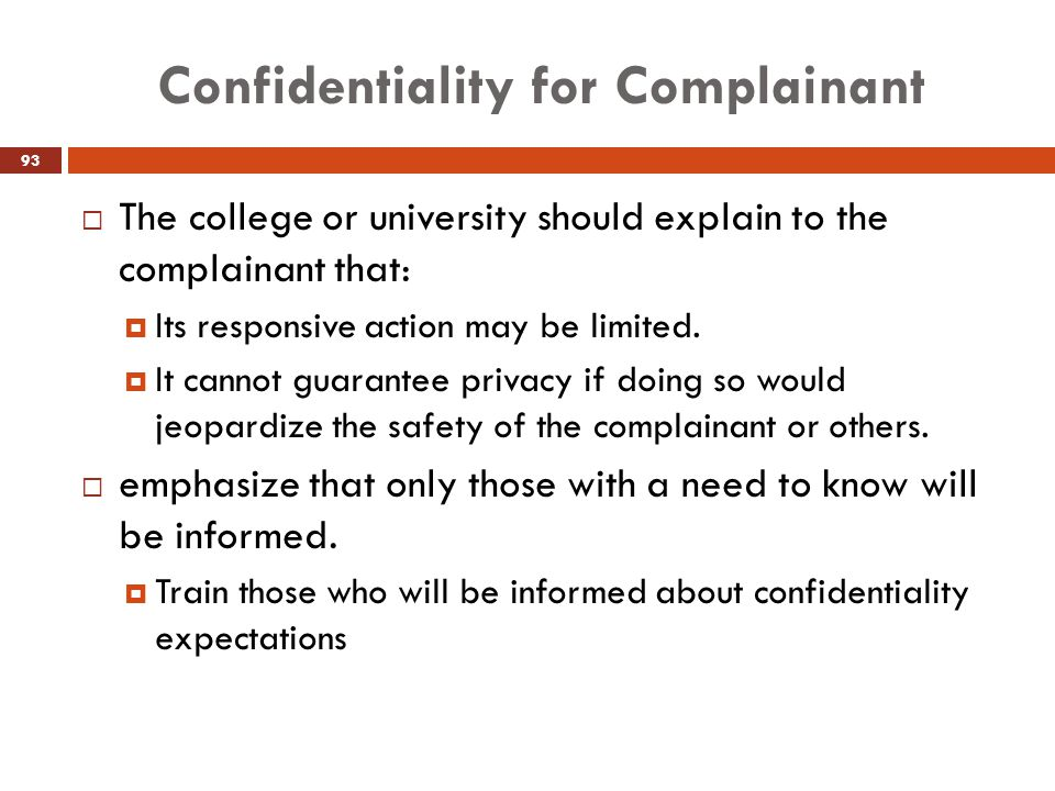 Confidentiality for Complainant