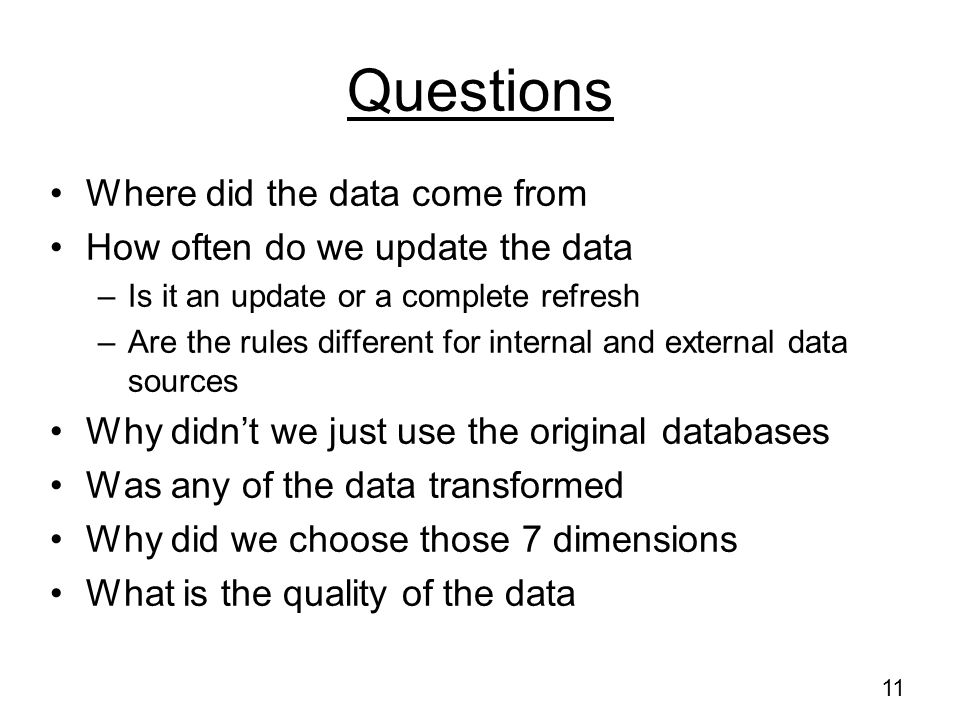 Questions Where did the data come from How often do we update the data