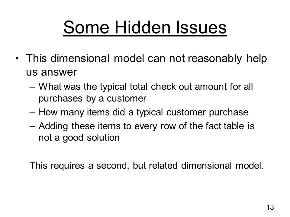 Some Hidden Issues This dimensional model can not reasonably help us answer.
