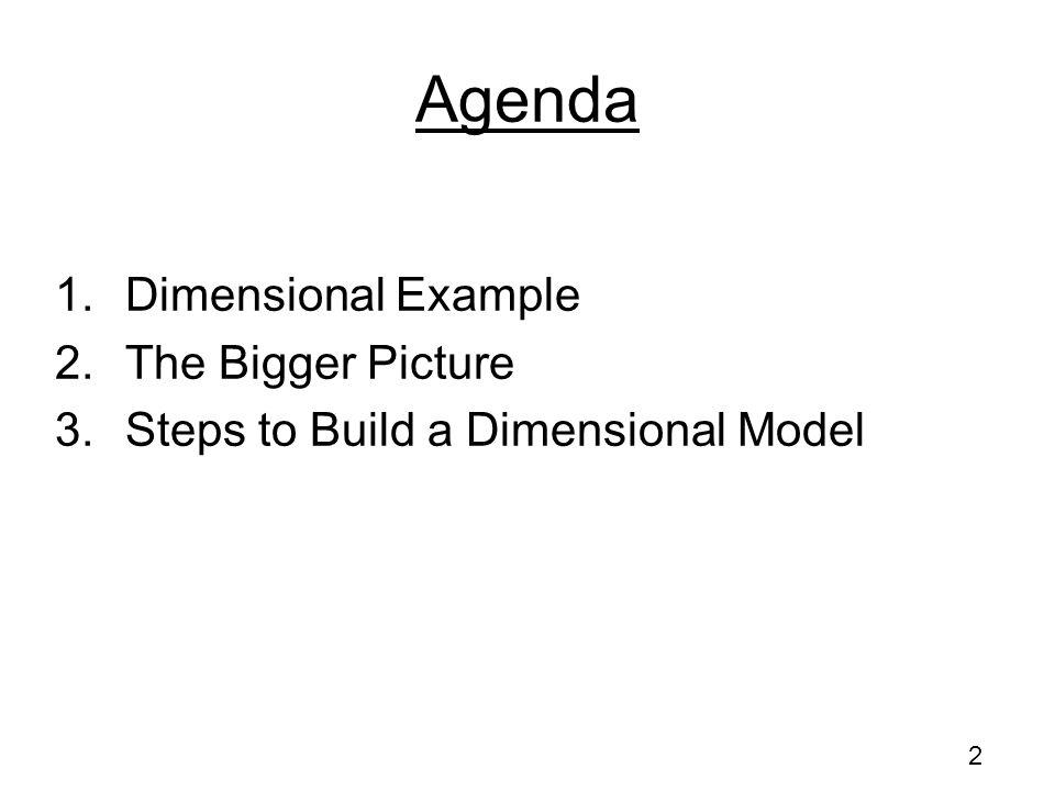 Agenda Dimensional Example The Bigger Picture
