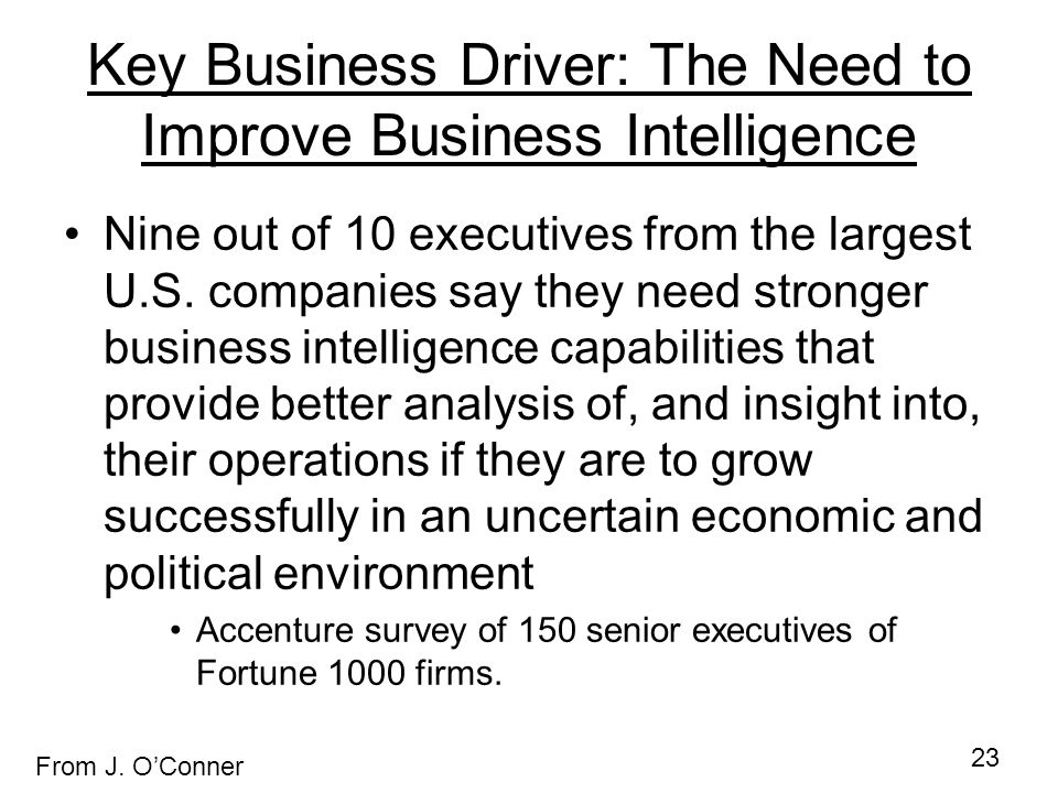 Key Business Driver: The Need to Improve Business Intelligence