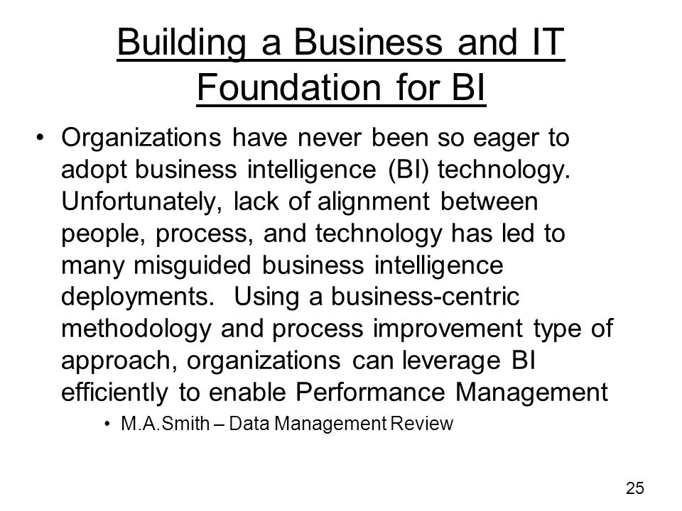 Building a Business and IT Foundation for BI