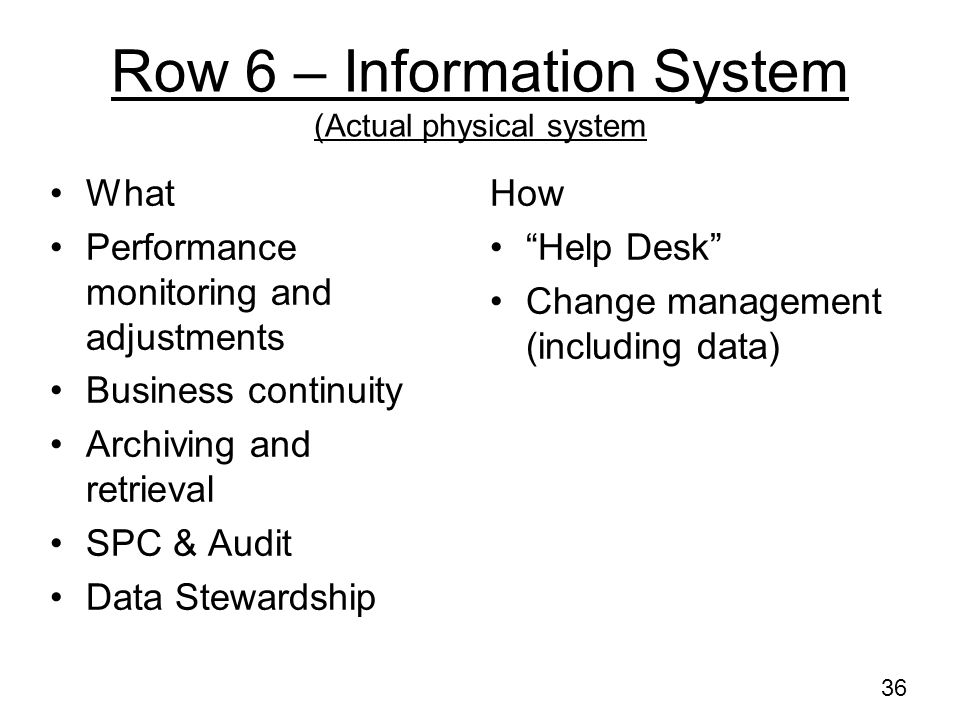 Row 6 – Information System (Actual physical system