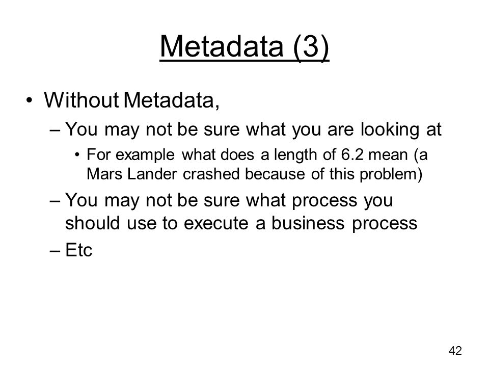 Metadata (3) Without Metadata,