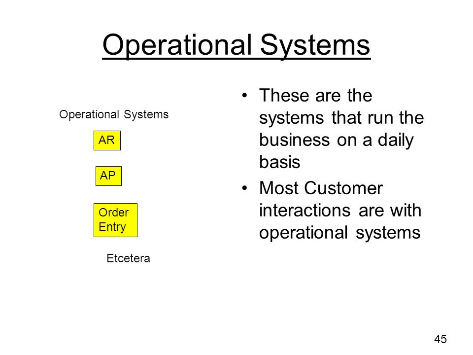 Operational Systems These are the systems that run the business on a daily basis. Most Customer interactions are with operational systems.