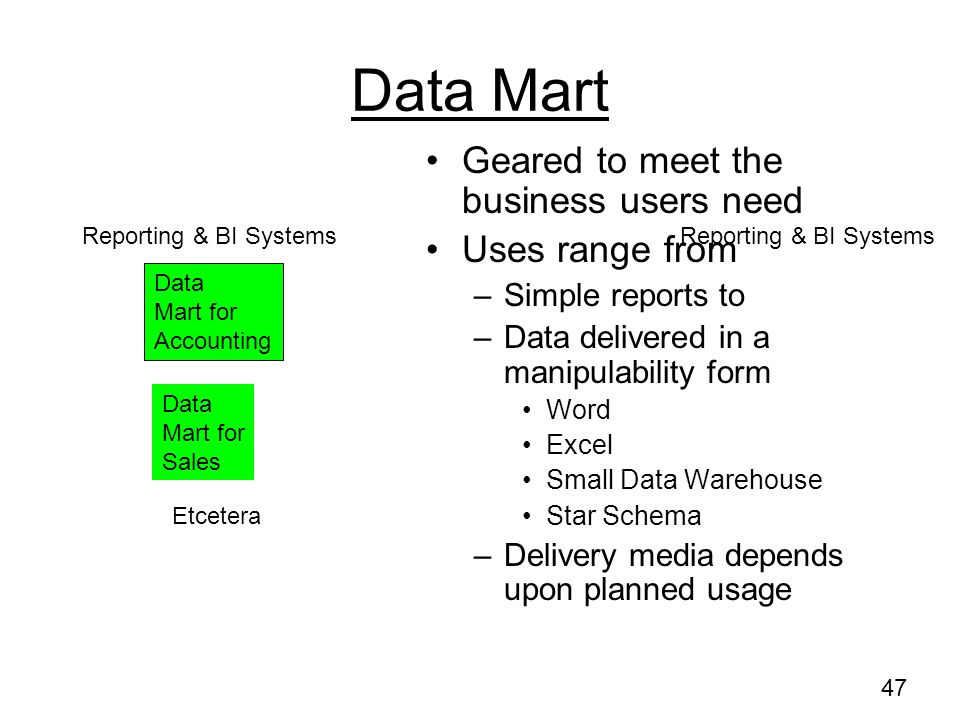 Data Mart Geared to meet the business users need Uses range from