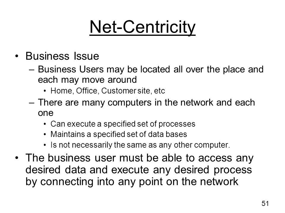 Net-Centricity Business Issue