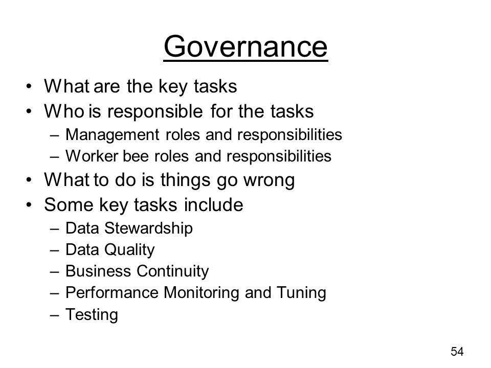 Governance What are the key tasks Who is responsible for the tasks