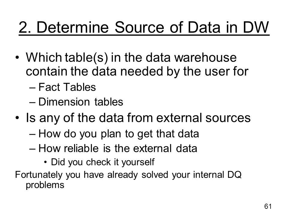 2. Determine Source of Data in DW