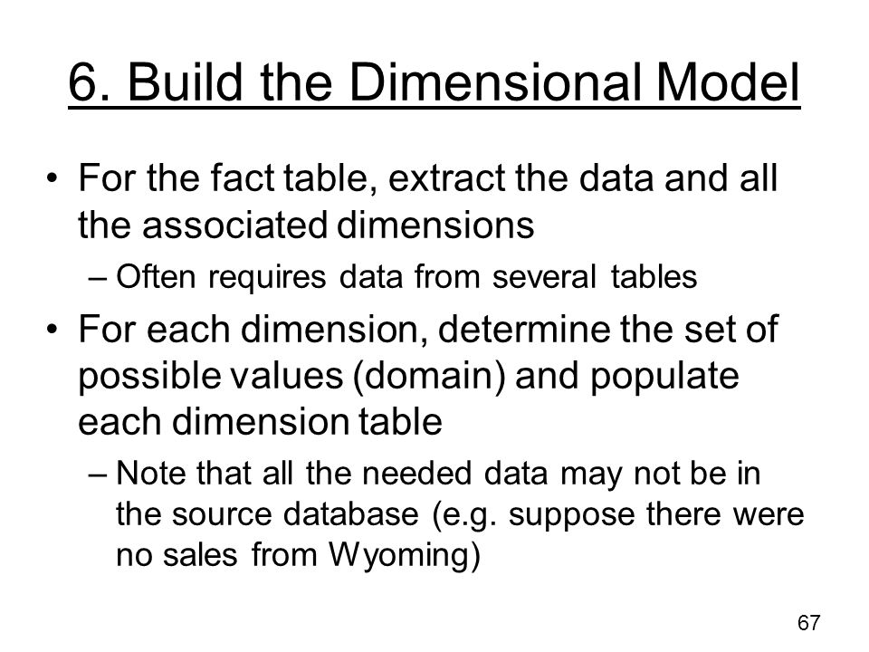 6. Build the Dimensional Model