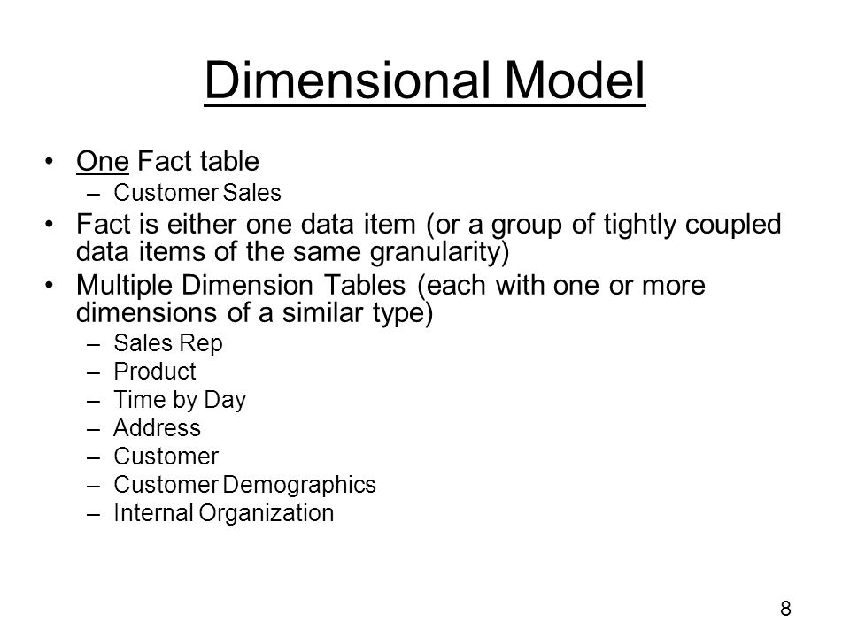 Dimensional Model One Fact table
