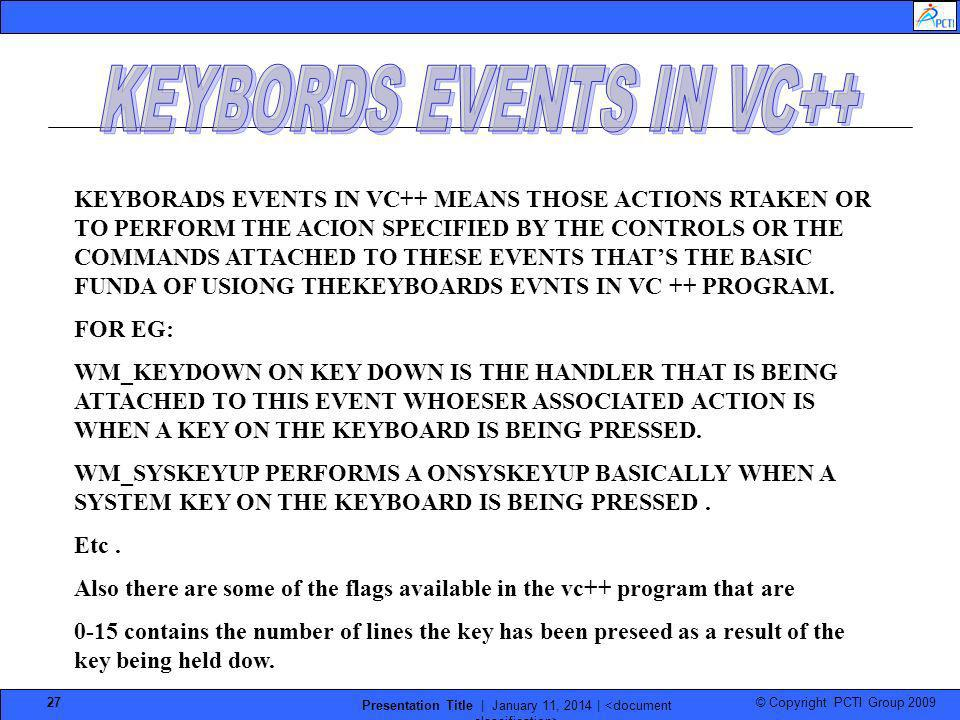 KEYBORDS EVENTS IN VC++