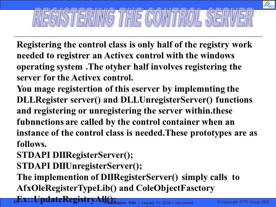 REGISTERING THE CONTROL SERVER