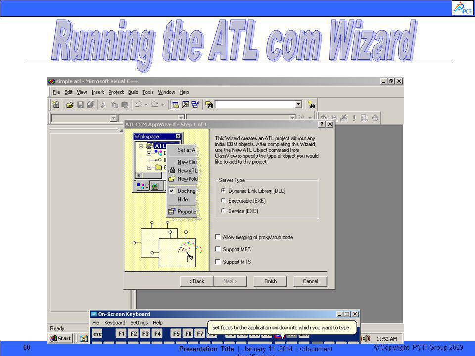 Running the ATL com Wizard