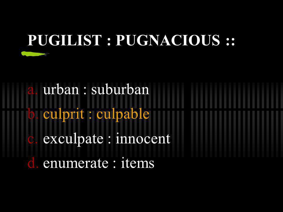 PUGILIST : PUGNACIOUS ::