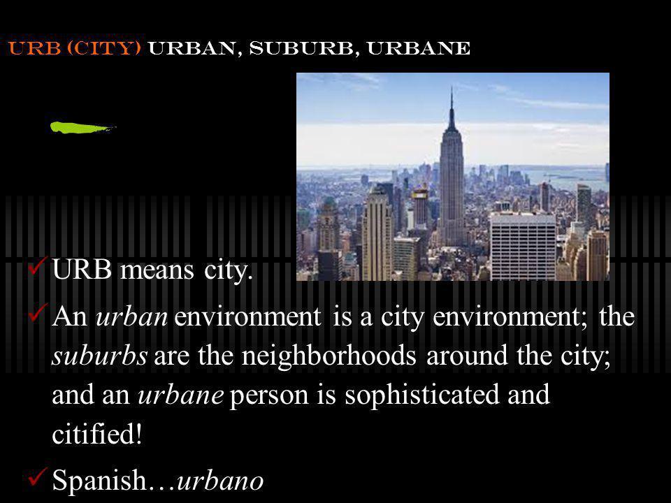 URB (city) urban, suburb, urbane