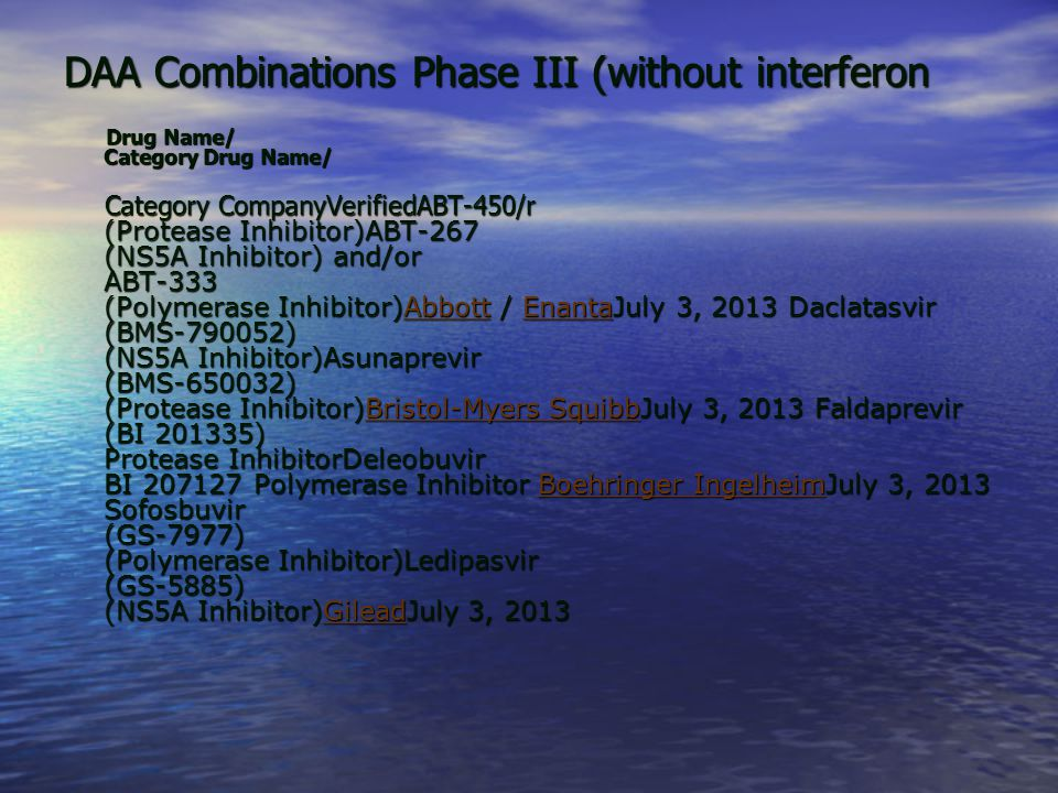 DAA Combinations Phase III (without interferon