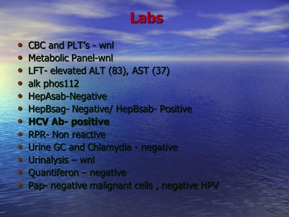 Labs CBC and PLT's - wnl Metabolic Panel-wnl