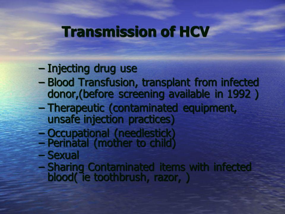 Transmission of HCV Injecting drug use