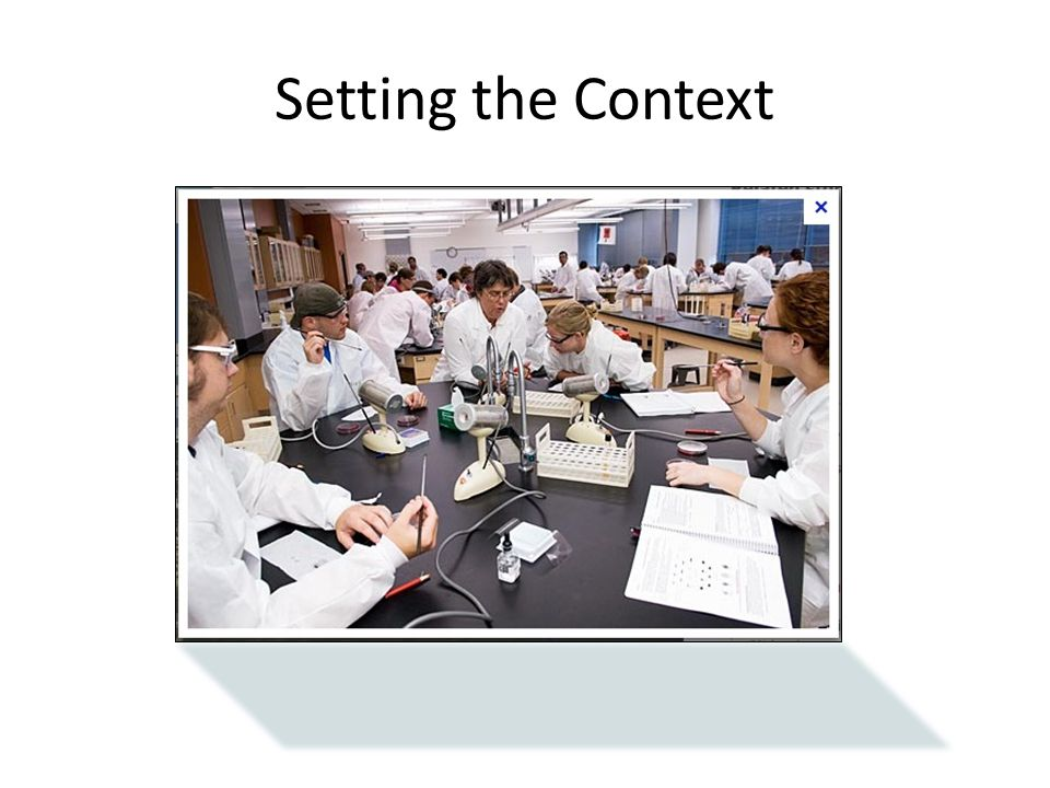 Setting the Context A typical lab setting adds another layer of information from instructors and fellow students.