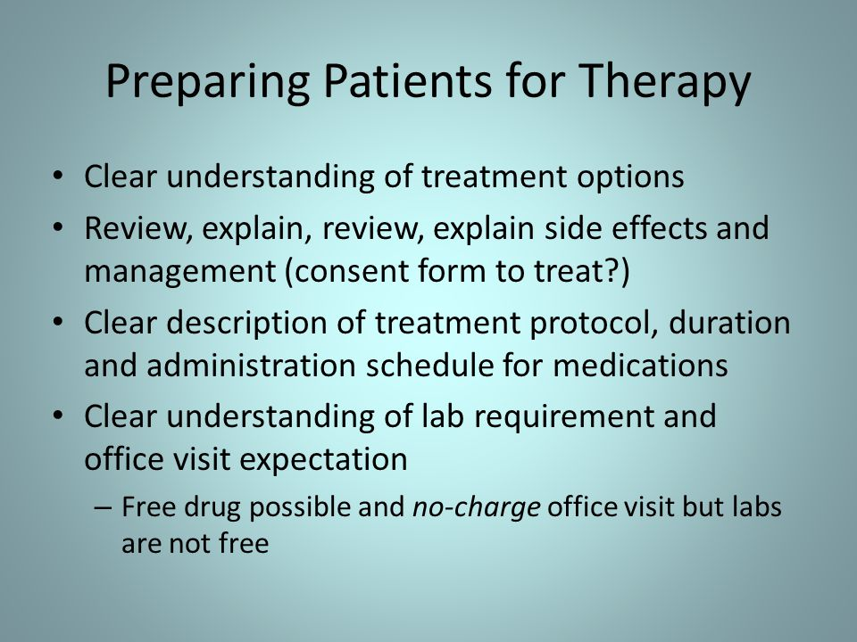 Preparing Patients for Therapy