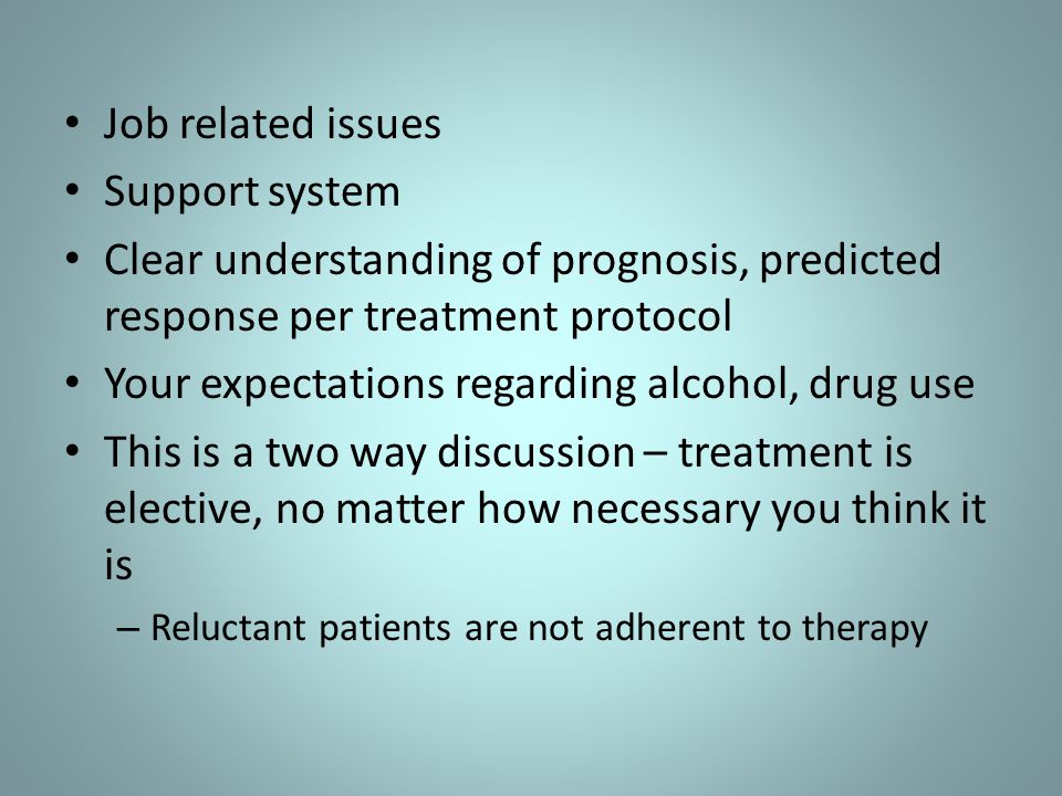 Your expectations regarding alcohol, drug use