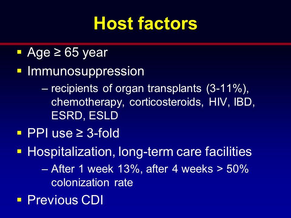 Host factors Age ≥ 65 year Immunosuppression PPI use ≥ 3-fold