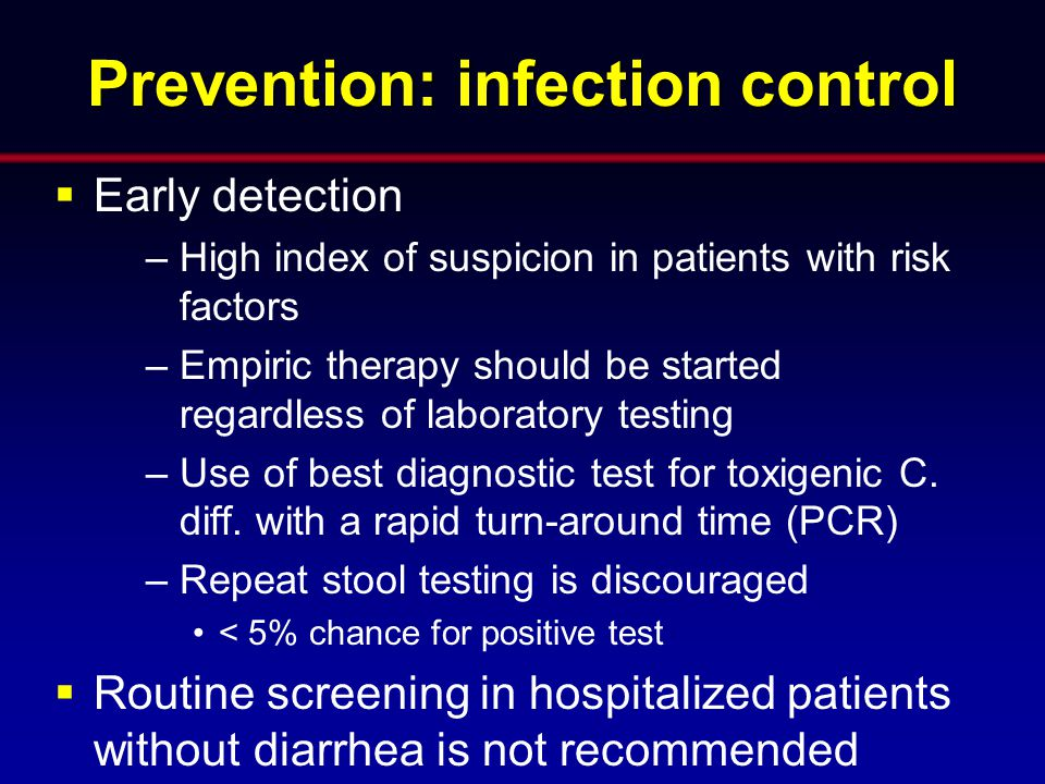 Prevention: infection control