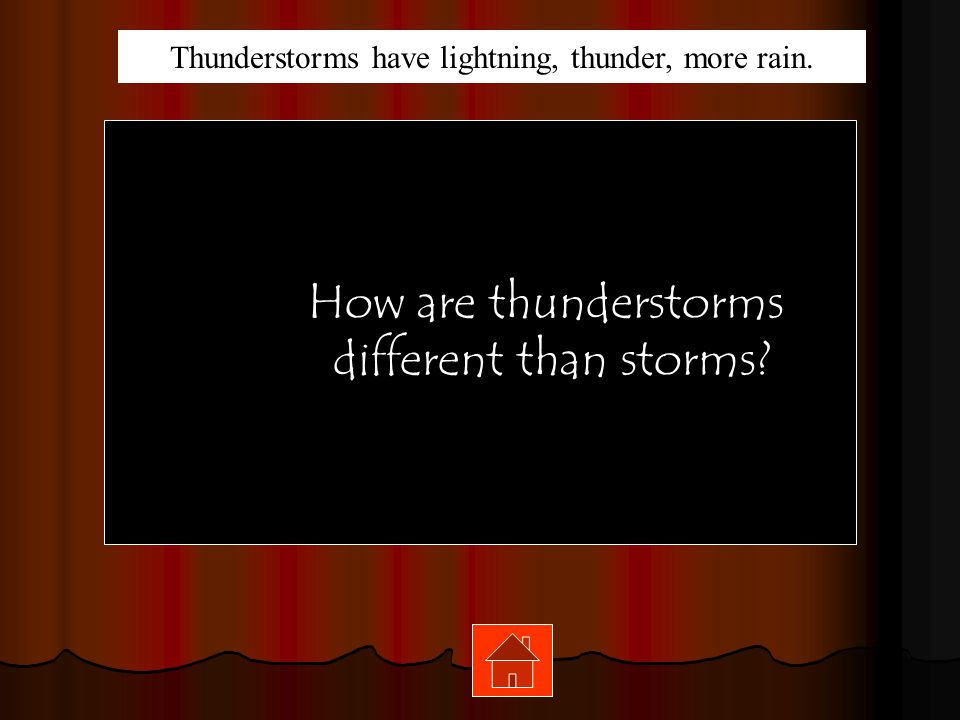 Thunderstorms have lightning, thunder, more rain.