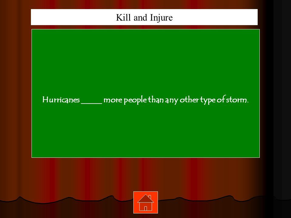 Hurricanes _____ more people than any other type of storm.