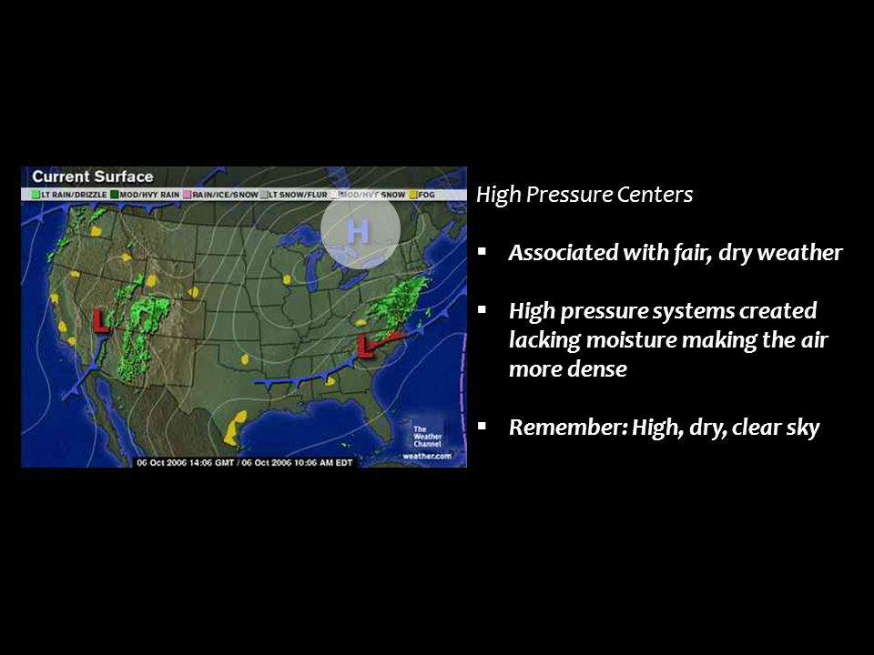 High Pressure Centers Associated with fair, dry weather. High pressure systems created lacking moisture making the air more dense.