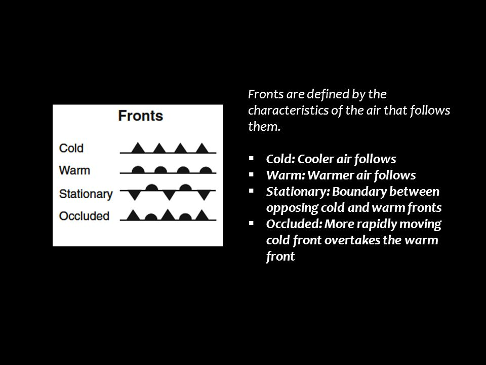 Fronts are defined by the characteristics of the air that follows them.