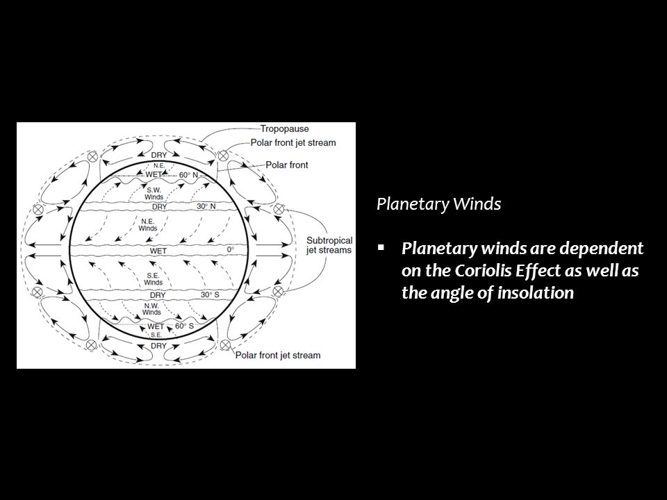 Planetary Winds Planetary winds are dependent on the Coriolis Effect as well as the angle of insolation.