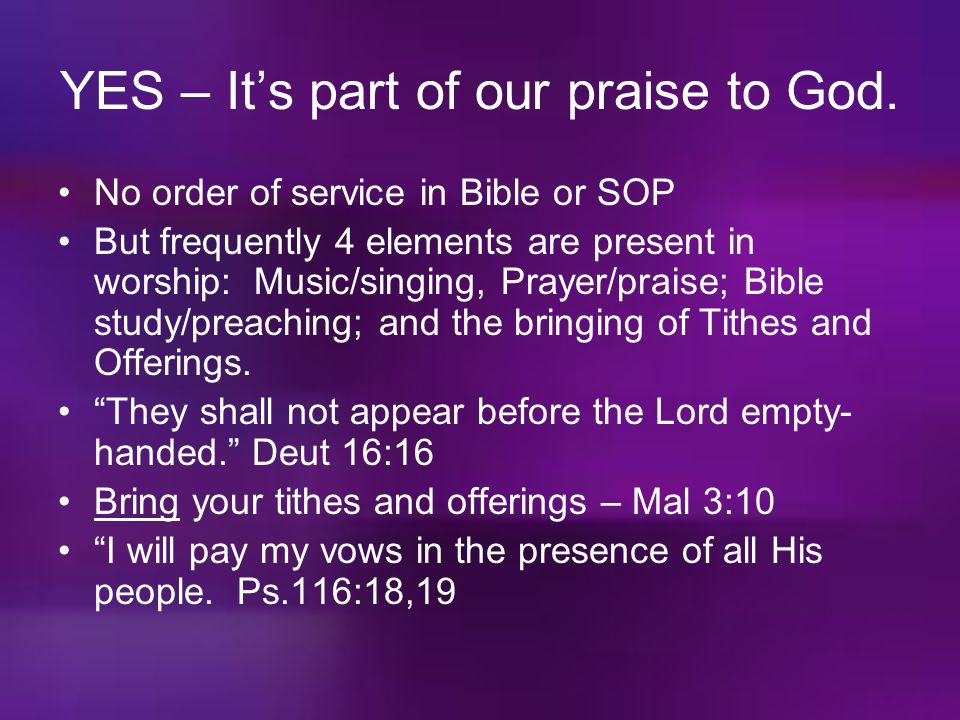 YES – It's part of our praise to God.