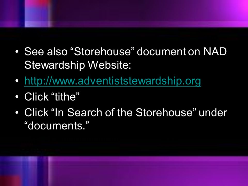 See also Storehouse document on NAD Stewardship Website: