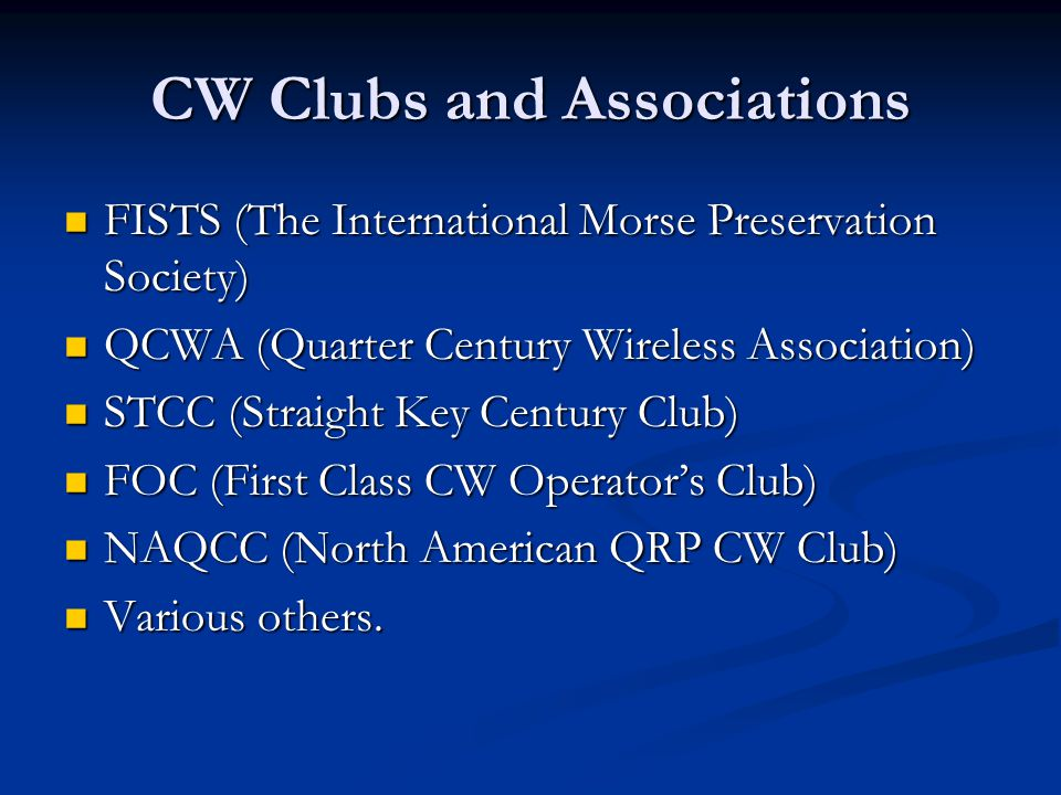 CW Clubs and Associations