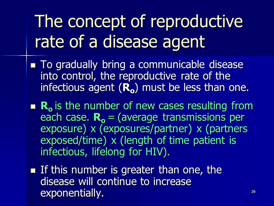 The concept of reproductive rate of a disease agent