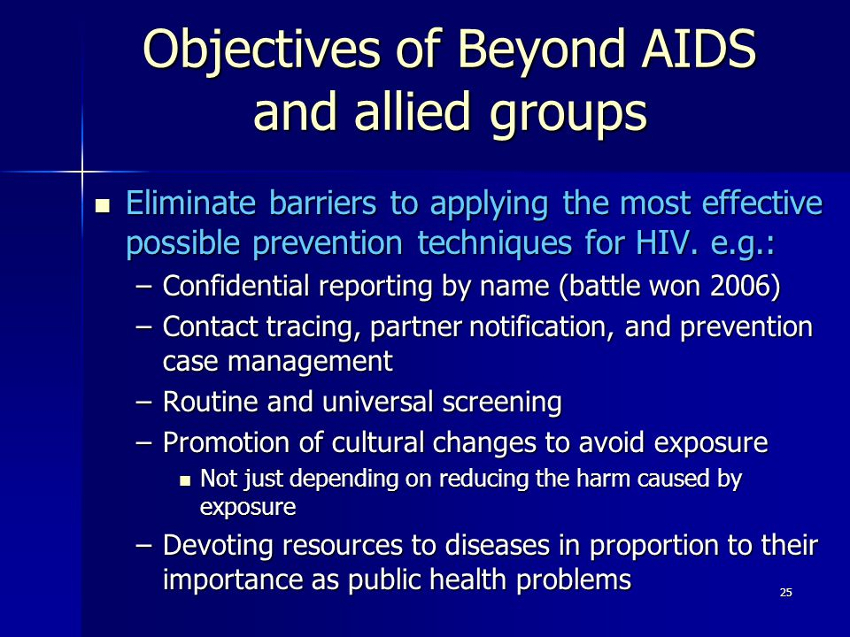 Objectives of Beyond AIDS and allied groups