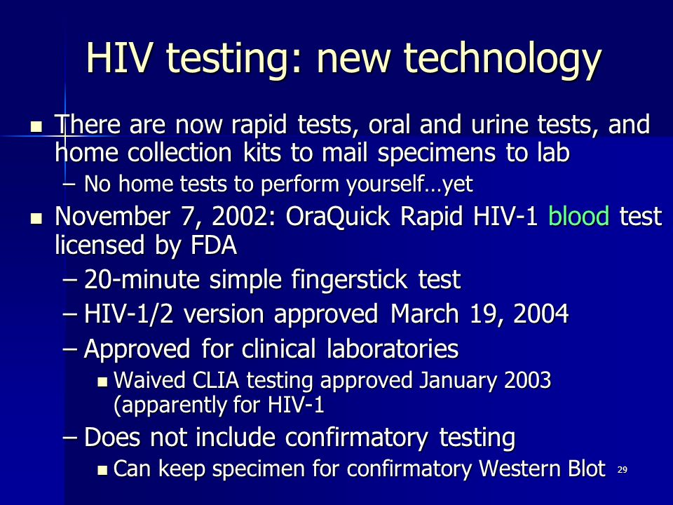 HIV testing: new technology