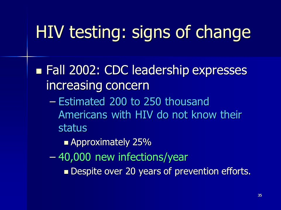 HIV testing: signs of change