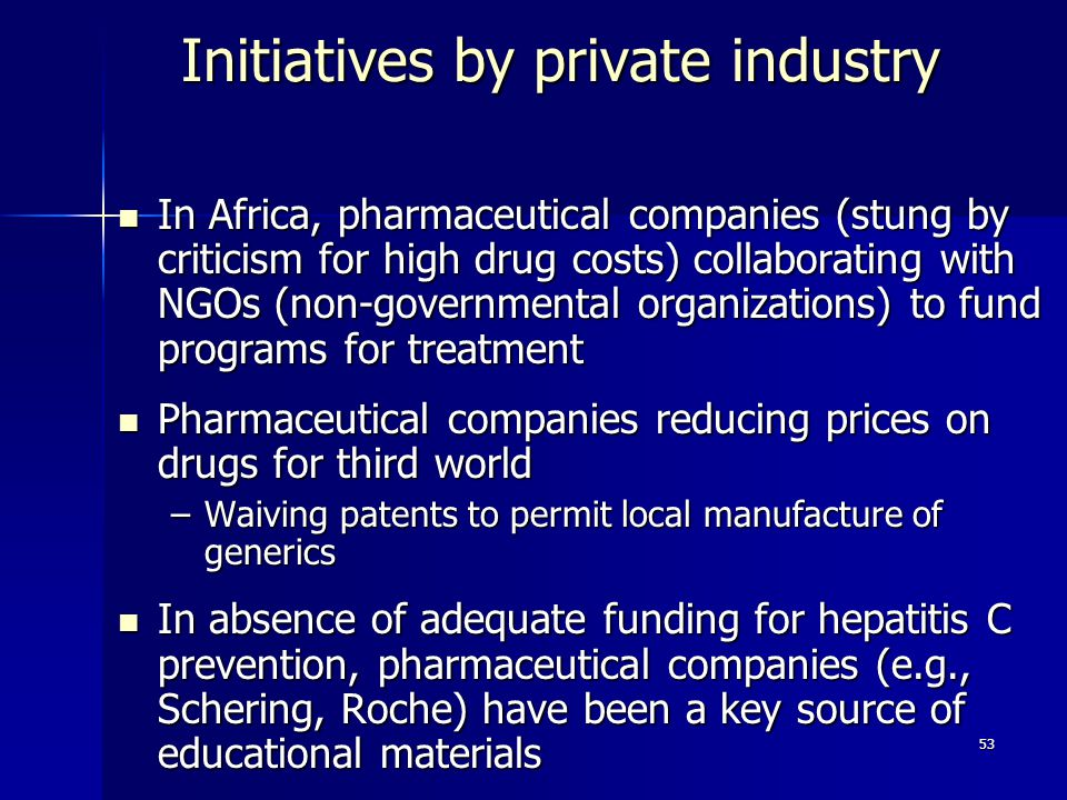 Initiatives by private industry
