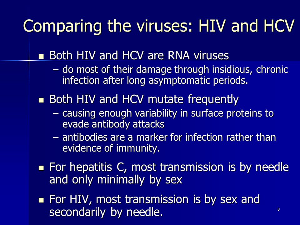 Comparing the viruses: HIV and HCV