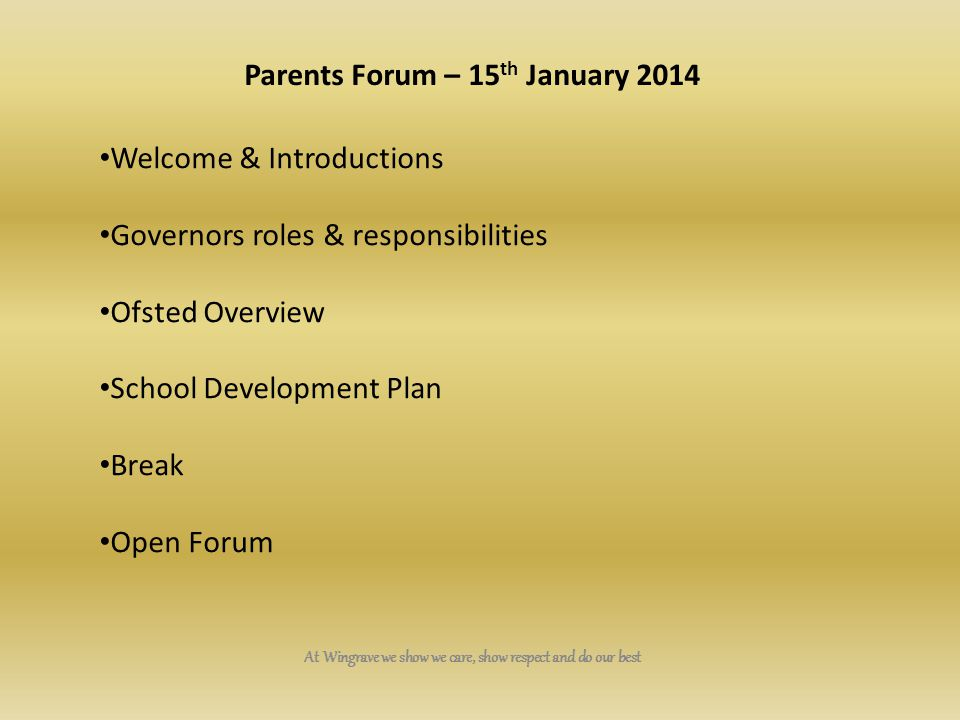 Parents Forum – 15th January 2014